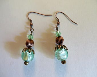 Green Lamp Work Foil 8mm Bead Dangle Earrings, Copper Bead, Beadcap and Green Bicone Crystal Accents