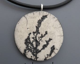 Crew neck, flowers #6 raku pendant Locket