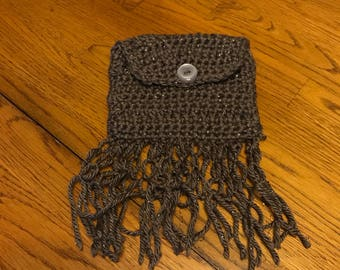 Taupe Chrochet Pouch