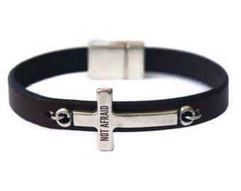 Spiritual Gift Personalized Leather Bracelet with Cross Men's Leather bracelet Spiritual Jewelry Silver Sideways Cross Bracelet Not Afraid
