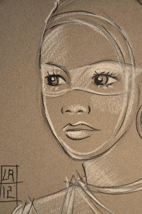 Dessin africaine regard noir et blanc portrait - Africaine dessin ...