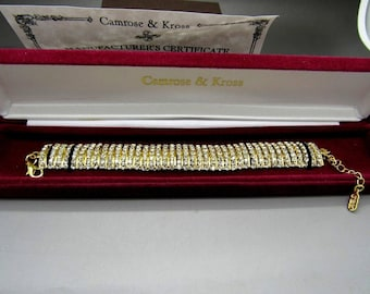 Jackie Kennedy Crystal Bracelet - 24K Gold Plated, Box and Certificate - Sz 7 or 8