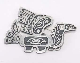 Northwest Coast Indian Signed Raven Brooch Silver Beautiful Details