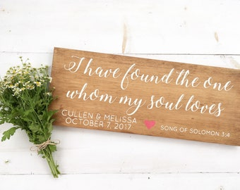 Wood Sign | I have found the one whom my soul loves. | hand painted wooden sign | wedding gift | bridal shower gift | personalized | custom