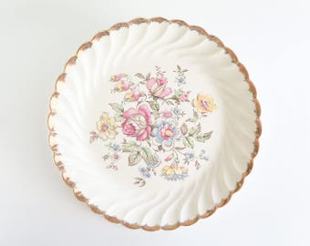 ROYAL CHINA Gilded Floral Serving Vanity Perfume Platter Tray