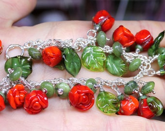 Bright orange\red rose bracelet
