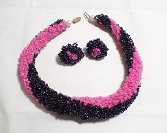 Hot Pink And Black Thick Woven Seed Bead Choker Necklace and Screw Back Earrings Set