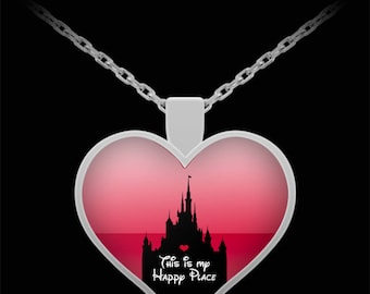 Disney My Happy Place Gift Necklace Disneyland Jewelry (Choice of Metal)