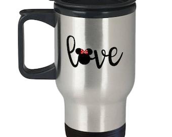 Disney Love Travel Mug Gift for Women Mickey Minnie Mouse Disneyland Fan Coffee Cup