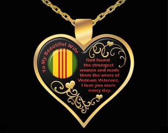 Heart Necklace Gift for Wife Girlfriend from Vietnam Veteran Vet Love Pendant Jewelry (Choice of Metal)