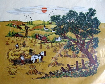 1970's Crewel Stitchery Kit Bountiful Harvest from Paragon Rustic Scene, Glorious Fall Day, Reaping of Hay, Haystacks Wall Hanging Picture