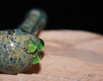 Glass Smoking Pipe, Green Coral with Green and Blue Detail