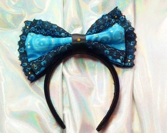 Large Bow Headband / Gold and Black / Lace Trim / Lolita Fashion / Handmade