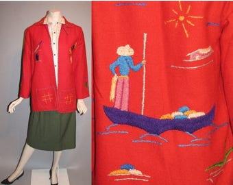 ON SALE Vintage 1950's Mexican Souvenir 50's Wool Embroidered Tourist Jacket Womans Coat - S