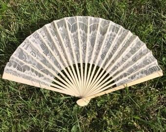 """Ivory Lace Fan for Wedding, 9"""" Hand Fan, Wedding Ceremony, Beach wedding, Wedding Favor, Party Favor, Wedding Ceremony, Lace Fan, Beige"""