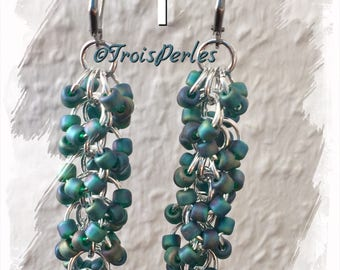 Chain Maille Earrings-Chainmaille earrings-shaggy loops-various colors