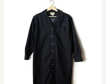 ON SALE Vintage Black Cotton Button down Long Sleeve Dress from 1980's*