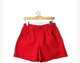 ON SALE Vintage Plain Red High waist  Flare Cotton Shorts from 90's/ W26-36*