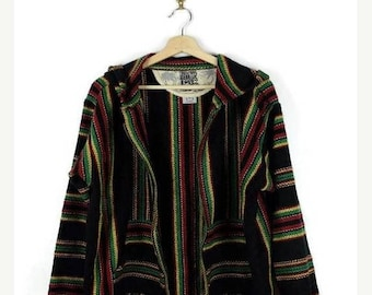 ON SALE Black x Red/Green Stripe Baja point break Poncho/Zip up hoodie /Mexican Parka*