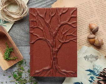 Tree of life small book, handmade brown leather journal, ooak book of shadows, wiccan pagan earth grimoire, christmas gift larper fantasy