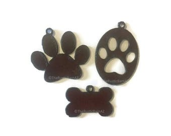 DOG PAW or Circle Paw print or Bone (any 3) Pendant Cutout Made of Rustic Rusty Rusted Recycled Metal