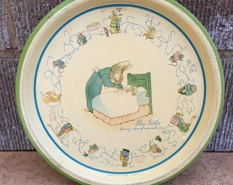 Peter Rabbit Tin Tray made in England. Beatrix Potter shabby chic vintage Texagen tray.