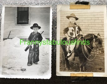 Vintage 1950's Photographs of a Boy Dressed Like a Cowboy, Standing & Riding a Horse