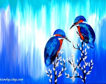 """painting, on, canvas, with,2 birds, in blue, and green, blue and green, paintings, of, from Australia, Australian, art,romantic,27.5""""x 19.5"""""""