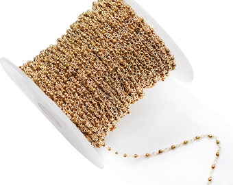 Golden Pyrite Rondelle Bead Rosary Chain, Gold Plated Wire Wrapped Chain, Pyrite Bead Chain, GemMartUSA (GPGP-30000)