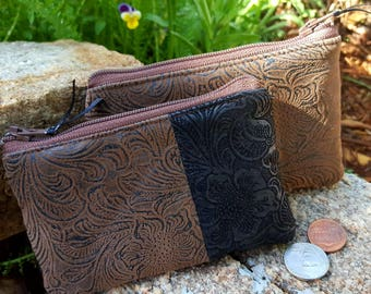 Faux Leather Coin Purse, Brown Tooled  Zipper Wallet, Tooled Leather Change Purse