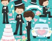 80% OFF SALE Wedding groom clipart commercial use, wedding vector graphics, bride and groom digital clip art, digital images - CL831