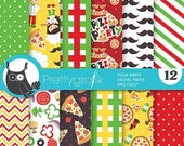 80% OFF SALE Pizza digital papers, Pizza party scrapbook papers commercial use, scrapbook papers, background - PS786