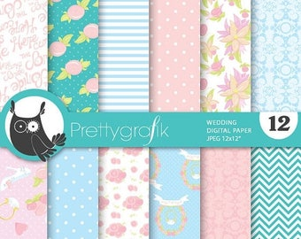 80% OFF SALE Wedding papers digital papers, baby shower commercial use, scrapbook papers, background - PS711