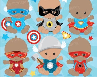 80% OFF SALE Superhero baby clipart commercial use, baby hero vector graphics, digital clip art, digital images - CL890