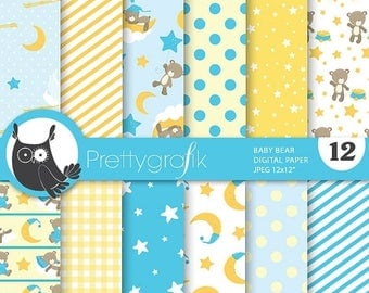 80% OFF SALE Baby boy bears digital paper, commercial use, scrapbook papers, background  - PS674