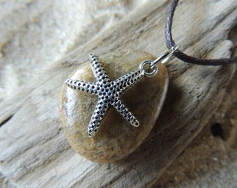 Handmade Natural Surf Tumbled Beach Stone Necklace with Starfish Charm