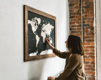 Push Pin Travel Map, World Map, Gift for Travelers, World Map Wedding, World Push Pin Map, Gifts for Boyfriend, Gift for Men, Valentines Day