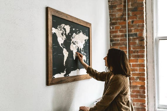 Push pin travel map world map gift for travelers world map like this item gumiabroncs Choice Image