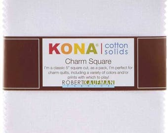 Kona Cotton Solids White Charm Pack - 5 inch Squares - 42 Charms - Robert Kaufman Fabrics