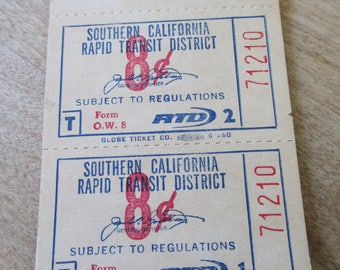Vintage Southern California Rapid Transit District (RTD) 8 cent ticket book - Estate find!