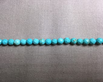 30 Pcs. Gemstone Faceted Beads 4 mm . Howlite Beads. Turquoise Color