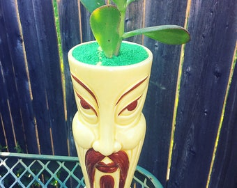 One of a kind succulent garden with real plant * upcycled funny vintage ceramic
