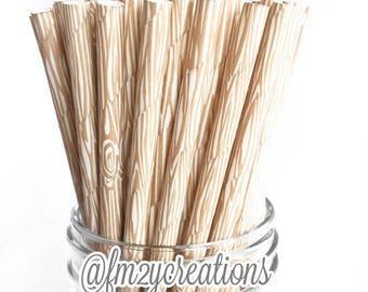 Wood Paper Straws | WOOD GRAIN Paper Straws | Woodland Baby Shower |  Lumberjack BIRTHDAY Party | Birthday Party | Wood Straws