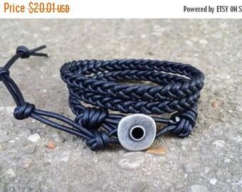 4th of July Sale braided leather wrap bracelet 3x wrap triple wrap black leather boho bracelet hippie bracelet