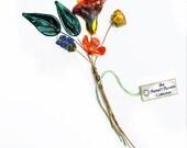 Fiery Mix Lampwork Flower Headpin Bouquet. Set of six headpins.