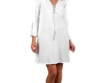 Fitted Swing Dress White