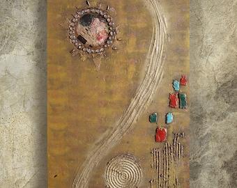 Gold the Kiss Klimt Abstract Painting vertical textured wall art A100 Original Contemporary Art KSAVERA canvas mid century modern art