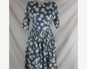 On sale Vintage 50s 60s Blue Silk Novelty Print Eyeballs Full Skirt Party Dress W 25
