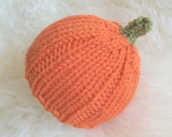 Baby pumpkin beanie hat 3 to 6 months jack o lantern - boy girl newborn photography prop halloween fancy dress outfit - orange harvest vegan