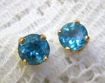 Sale...Vintage 14K Blue Topaz Earrings...14K Yellow Gold Post Back Earrings...Wedding Blue...14K 5mm Topaz Studs